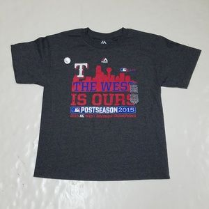 7589244ad ... Champs XL Majestic Texas Rangers 2015 The West Is Ours Sz M Denver  Broncos Lot of 2 Super Bowl 50 ...